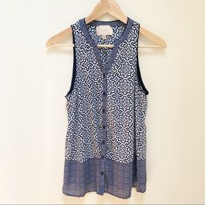 Anthropologie skies are blue navy & white top XS